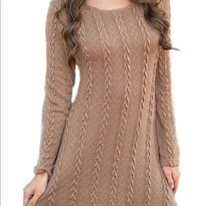 0370 Womens Knitted Crewneck Sweater Dress